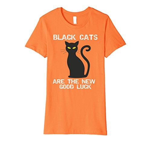 [Womens Black Cats are the New Good Luck Halloween T-Shirt Medium Orange] (Orange Is The New Black Costume Back)