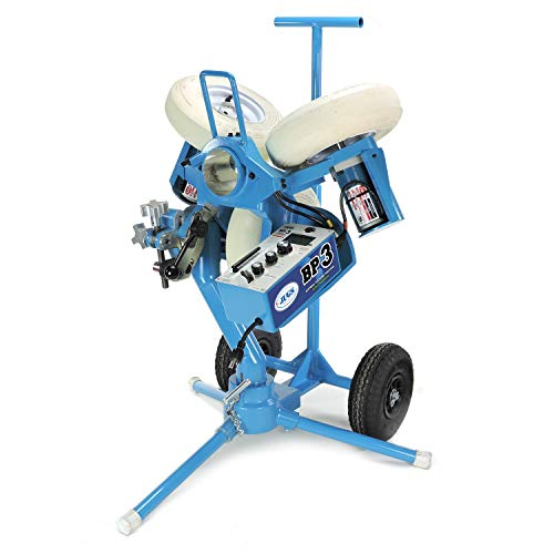 Jugs BP3 Softball Pitching Machine with Changeup – State of The Art 3 Wheel Pitching Machine, 45-75 mph Pitch Speeds, Realistic Delivery Height, Throws 8 Pitches at The Turn of a Dial