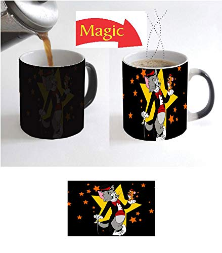 (Coffee Mug Cup 11 Oz Black Ceramic Magic Color Changing Heat Activated Cartoon Tom Christmas Birthday Anniversary Greetings Kids Jerry Gift N554)