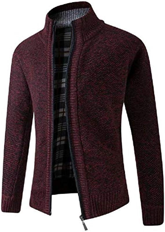 H&E Men Regular Fit Zip Front Fleece Knit Stand Collar Autumn Winter Cardigan Sweater Coat: Odzież