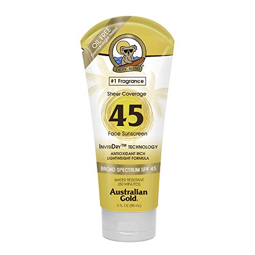 Australian Gold Sheer Coverage Sunscreen Lotion, Lightweight & Invisible Dry, Broad Spectrum, Water Resistant, SPF 45, 3 Ounce
