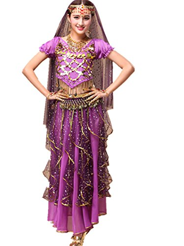 [Dancewear Belly Dance Suit Custome V Neck Coins Top & Chiffon Long Two Layers Skirt purple] (Arabian Woman Costumes)
