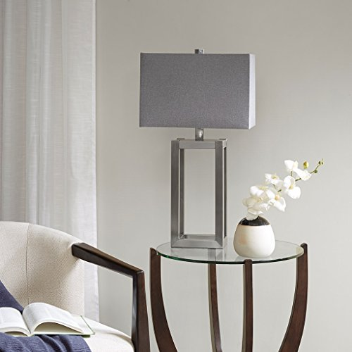 Modern Silver Metal Base with Light Grey Shade - Includes Modhaus Living - Galleria Stores Silver City