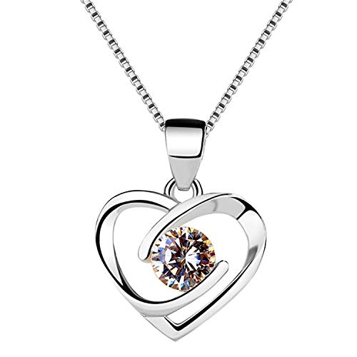 NOOYAH 925 Sterling Silver Love Heart Pendant Necklace Gift for Women Girls Mom,Crystals Cubic Zirconia Necklaces Anniversary Birthday Gifts for Her (Silver, Gold-Plated-Brass)