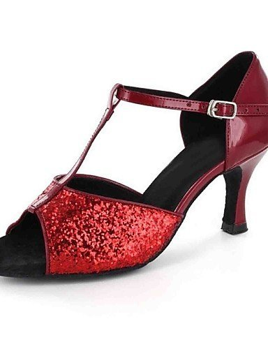Or De Shangyi Chaussures personnalisables noir latine similicuir talon Rouge Gold Personnalisé Danse qpXUFOxX