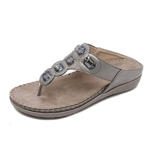 Meeshine Women's Bohemia Rhinestone Flip Flops T-Strap Sparkling Beaded Summer Beach Thong Flat Sandals Slippers Shoes(5.5 B(M) US,Gray) (Gray Rhinestone)
