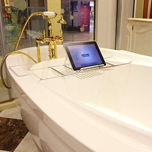 ZhaoLiRuShop Bathtub Trays Bath Caddy Bath Tray Bath Board Waterproof Non-Slip Stainless Steel Bathtub Frame Telescopic Hotel Multi-Function Bathtub Bracket (Color : Silver, Size : 63.5-9820cm) by ZhaoLiRuShop (Image #3)