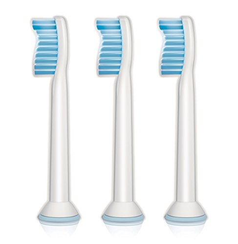 Genuine Philips Sonicare Sensitive replacement toothbrush heads for sensitive teeth, HX6053/64, 3-pk (Best Sonic Toothbrush For Sensitive Teeth)