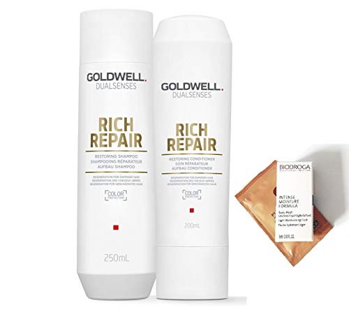 Goldwell Ultra Rich Care Shampoo - Goldwell Dualsenses Rich Repair Restoring Shampoo & Conditioner DUO Set 10.1 oz / 300 ml (with Free Hair & Skin Care Samples)
