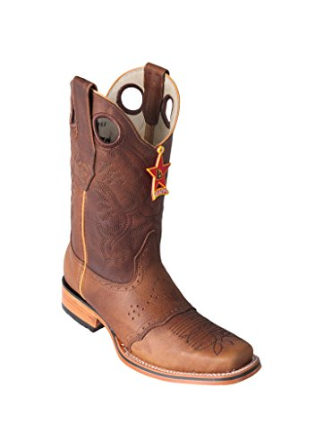 Men's Altos Honey Wide Rodeo Saddle Western Boots Cowhide Genuine Leather with Skin Boots Los Square wZqT5dHZ4