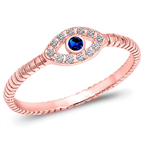 Rose Ring Sapphire (Rose Gold-Tone Blue Simulated Sapphire Evil Eye Ring Sterling Silver Band Size 10)