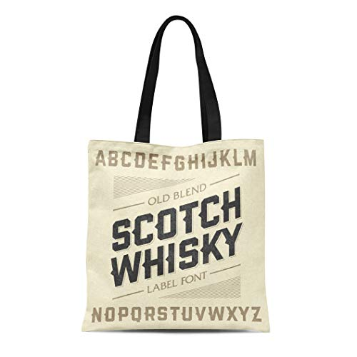 Semtomn Canvas Tote Bag Western Scotch Whiskey Label Alphabet Beer Old Bar Whisky Durable Reusable Shopping Shoulder Grocery Bag ()