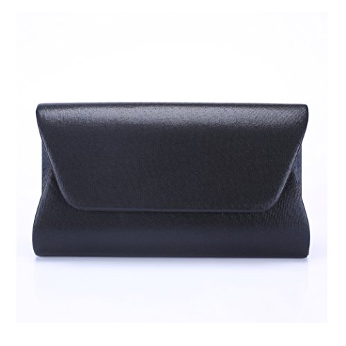 Women Envelope Evening Bag Clutches HandBag , WALLYN'S Flap Dazzling Shouder Bags Wedding Purse with Detachable Chain (black) (Black Leather Evening Bag)