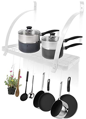 Sorbus Kitchen Wall Pot Rack with Hooks - Decorative Wall Mounted Storage Rack - Multi-Purpose Shelf Organizer Great for Kitchen Cookware, Utensils, Pans, Books, Household Items, Bathroom (White)