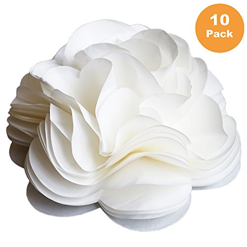 (Tissue Paper Flower Bow for Gift & Presents Wrapping & Decor, Self Adhesive, 6 Inch Diameter Size, Ivory White (10 Count))