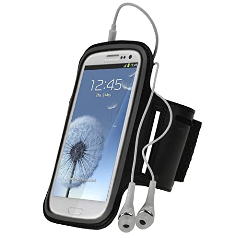 igadgitz Black Reflective Anti-Slip Neoprene Sports Gym Jogging Armband for Samsung Galaxy S3 III i9300 Android Smartphone Cell Phone (Compatible with all carriers incl AT&T, Sprint Nextel, T-mobile & Verizon (Nextel Phone Touchscreen)