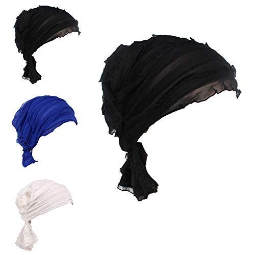 Ever Fairy 3 Colors Pack Chemo Cancer Head Scarf Hat Cap Ethnic Cloth Print Turban Headwear Women Women's Ruffle Beanie Scarf (3 Colors -