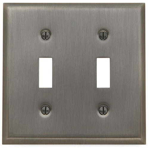 Baldwin 4761151 Antique Nickel Switch Plates Beveled Edge Double Toggle Solid Brass Switch plate 4761.CD -