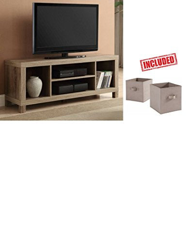 Cross Mill TV Stand Rustic Oak Finish with Set of 2 Collapsible Cube Bins Storage