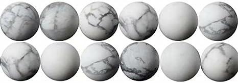Abalorios de Piedras Preciosas Howlite Blanca Naturales Bola de 8mm Perlas para Fabricar Joyas Collares Pulsera Pendientes Cerca de los 38cm Aprox 46 Piezas