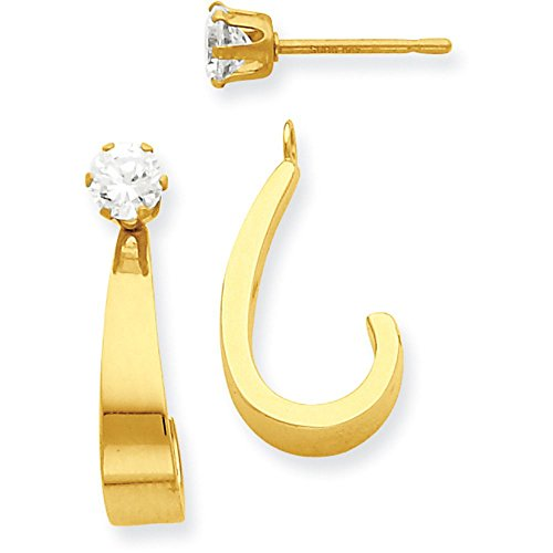 14k Gold Polished J-Hoop Jackets for Stud Earrings (0.79'' Height) - Yellow-Gold by Jewel Tie