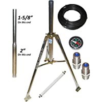Satellite Tripod Kit for Directv, Dish Network and FTA 2 & 1 5/8 OD Satellite Mount with 50 feet of cable, compasss, flat cable and barrel connectors