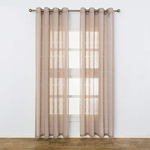 (Aquazolax Semi Sheer Curtain Panels Linen Striped Voile Window Treatment Kitchen Bedroom Grommet Drapery, 1 Pair, 52 Inch x 84 Inch,)