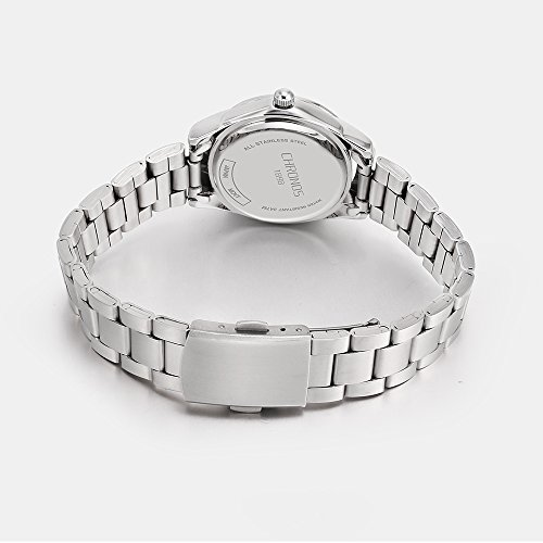 Chronos Women Girls Silver Stainless Steel Quartz Waterproof Watch Round Analog Silver Dial by Chronos (Image #2)'