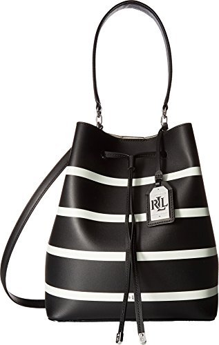 LAUREN Ralph Lauren Women's Dryden Debby Drawstring Black/Vanilla Stripe One Size Dryden Handle Base