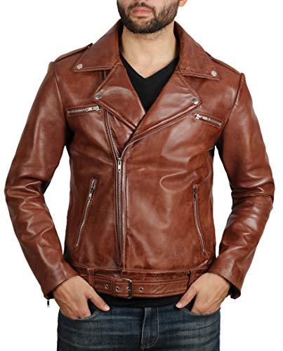 fjackets Motorcycle Leather Jacket Men - Brown Real Mens Leather Jackets for Biker | Negan S]()