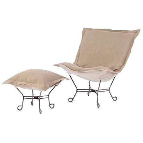 Howard Elliott Scroll Puff Chair with Titanium Frame, Prairie Linen Natural