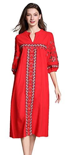Shineflow Womens Casual 3/4 Sleeve Floral Embroidered Mexican Peasant Dressy Tops Blouses Shirt Dress Tunic (L, Red)