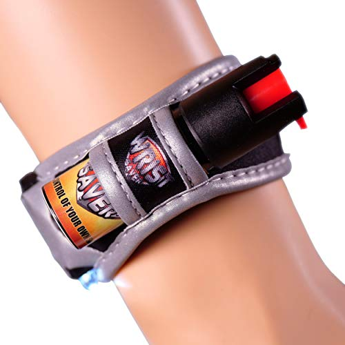 Wrist Saver Pepper Spray for Runners - Joggers - Walking - Hiking - Lightweight Wristband w/LED Light - Id Card - Reflective Material - Police Grade Strength - (Black/Orange, Small)