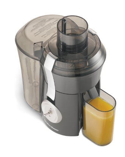Hamilton Beach 67650A Big Mouth 800 Watt Juice Extractor Gray and Matte Chrome Die-Cast Metal Lid Latch, Commercial Grade Speed Control, 3 Inch Feed Chute, Stainless Steel Micro-Mesh Strainer Basket - Steel Feed