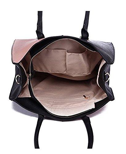 LeahWard® Damen Groß Mode Essener Berühmtheit Tragetaschen Damen Qualität Schnell verkaufend Modisch Handtaschen CWS00319B CWS00319C CWS00319 319C Schwarz/Nude V