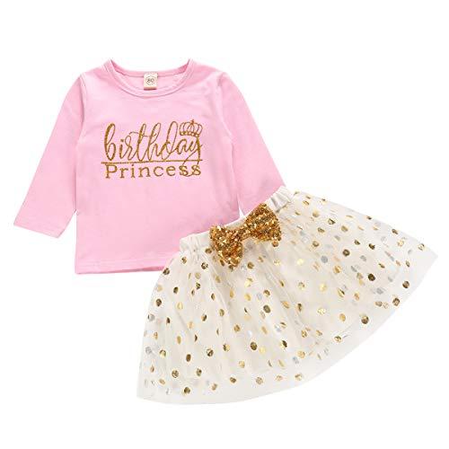 (Toddler Kids Baby Girls Outfits Brithday Princess Vest Sleeveless Top +Dot Bubble Skirt Summer (Pink_Long Sleeve, 18 Months(80)))