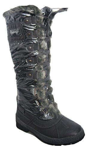 Lace Winter Boots Lining Shiny Flat Dark Comfort By with Faux Cherag Grey Front ENVY Fur w0tA1t