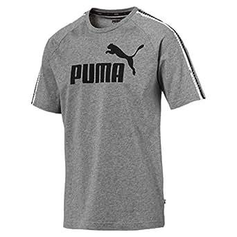 PUMA Men's Tape Logo Tee, Medium Gray Heather, S