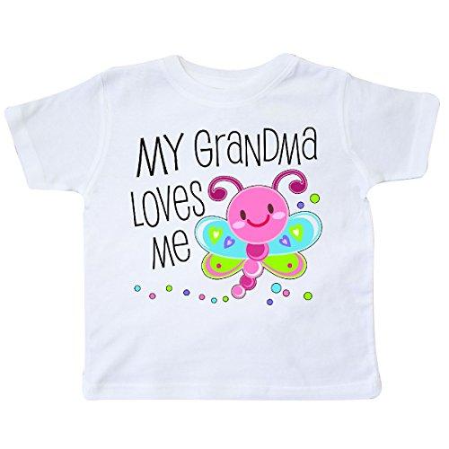 inktastic - My Grandma Loves Me- Cute Dragonfly Toddler T-Shirt 5/6 White 305b8