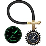 """AstroAI Heavy Duty Tire Pressure Gauge 60 PSI with Large 2"""" Easy Read Glow Dial, Durable Rubber Hose and Solid Brass Construction, Professional Mechanical Tire Gauge for Motorcycles, Cars, Trucks, Bicycle, Best Gift for Men"""