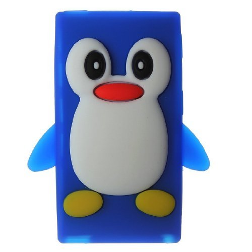 iPod Nano 7 8 7th 8th Generation Penguin Cartoon Case - Tsmine Cute 3D Penguin Soft Silicone Back Washable Cover Case Protective Skin for Apple iPod Nano 7th 8th Generation, Navy Blue (Nano Blue Ipod Cover Protective)