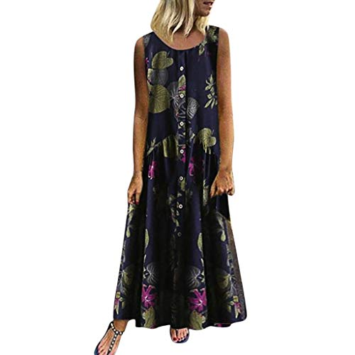 (Maxi Dresses for Women,Womens Crew Neck Sleeveless Summer Floral Maxi Dress with Button Down Navy )