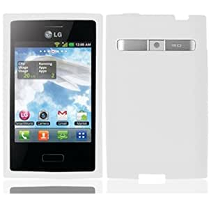For Lg Optimus Logic L35G Dynamic L38C Silicone Jelly Skin Cover Case White Accessory