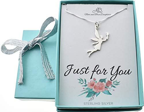 (Little girl's Fairy necklace in sterling silver on a 14 sterling silver box chain with 2