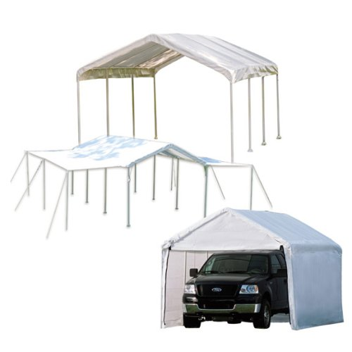 - ShelterLogic MaxAP 3-in-1 Canopy with Enclosure and Extension Kits, White, 10 x 20 ft.
