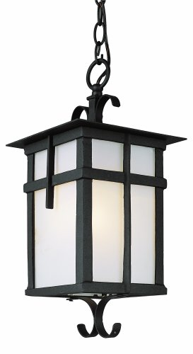 Trans Globe Lighting 5284 BK 16-Inch 1-Light Outdoor Medium Hanging Lantern, Black (Lantern Style Lighting Outdoor)