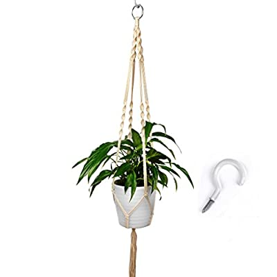 Mighty Athena Macrame Plant Hanger With Complimentary Hook | Durable & Odor Free Cotton Hanging Rope | For Pots, Flowers, Bowls, Baskets, Indoor &Outdoor Home Décor, Garden, Walls, Ceiling & More