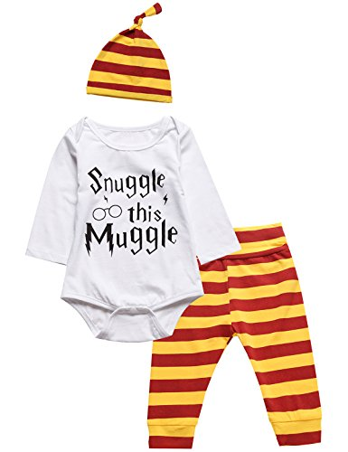 [3Pcs Outfit Set Baby Boy Girl Infant Snuggle this Muggle Rompers (6-12 Months, White03)] (Funny Halloween Outfit)