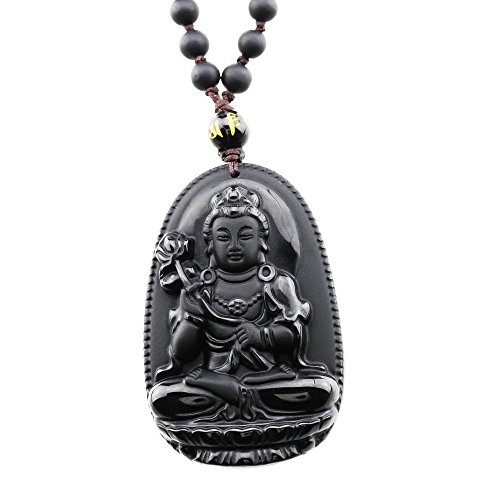 (FOY-MALL Natural Obsidian Guardians of Chinese Zodiac Pendant Necklace Mahasthamaprapta XL1270a)