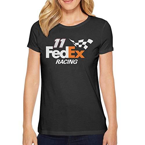 (YUIOA Womens Ladies Black Tshirts Cotton FeDEX-Racing-Hamlin-11- Summer Short Sleeve Tee Shirts)